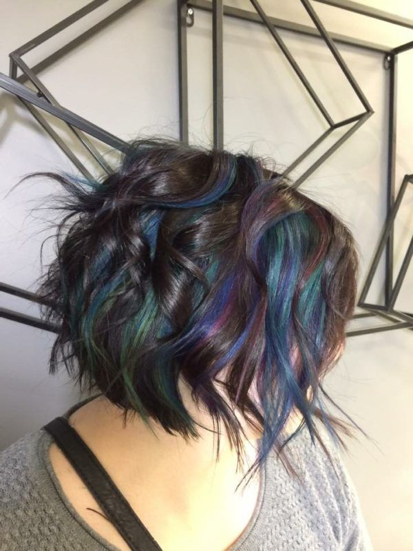vivid color peacock hair